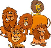 Cartoon Illustration of Funny Lions Wild Cats Animal Characters Group