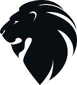 lion's head in profile. Template Logo.