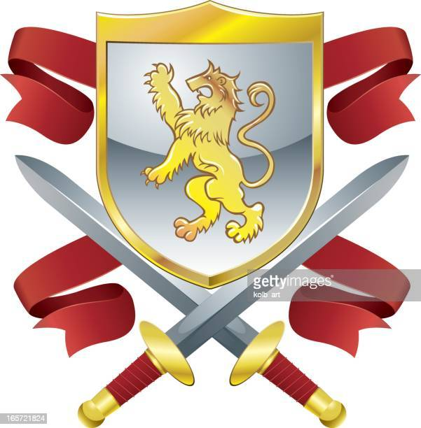 Lions shield, swords and banners