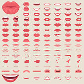 vector illustration of a kiss, red lips isolated, smile male and female mouth,