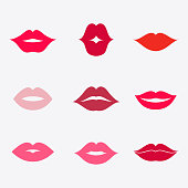 Lips vector icon set. Different women's lips isolated from background. Red lips close up girls. Shape sending a kiss, kissing lips. Collection of women's mouths. Lips symbol.
