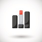 Lipstick vector flat icon, Flat design of cosmetic product, make up or beauty object with round shadow, vector illustration with shadows