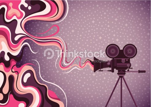 Liquid Abstraction With Movie Camera Vector Art
