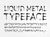 Vector liquid metal typeface. Letters A-Z, a-z, numbers and symbols. Eps8. RGB. One global color