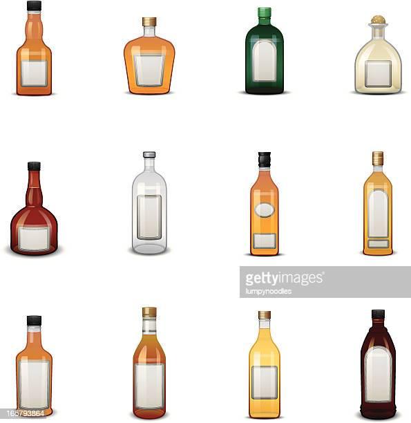 Liquor Bottle Icons w/ Labels