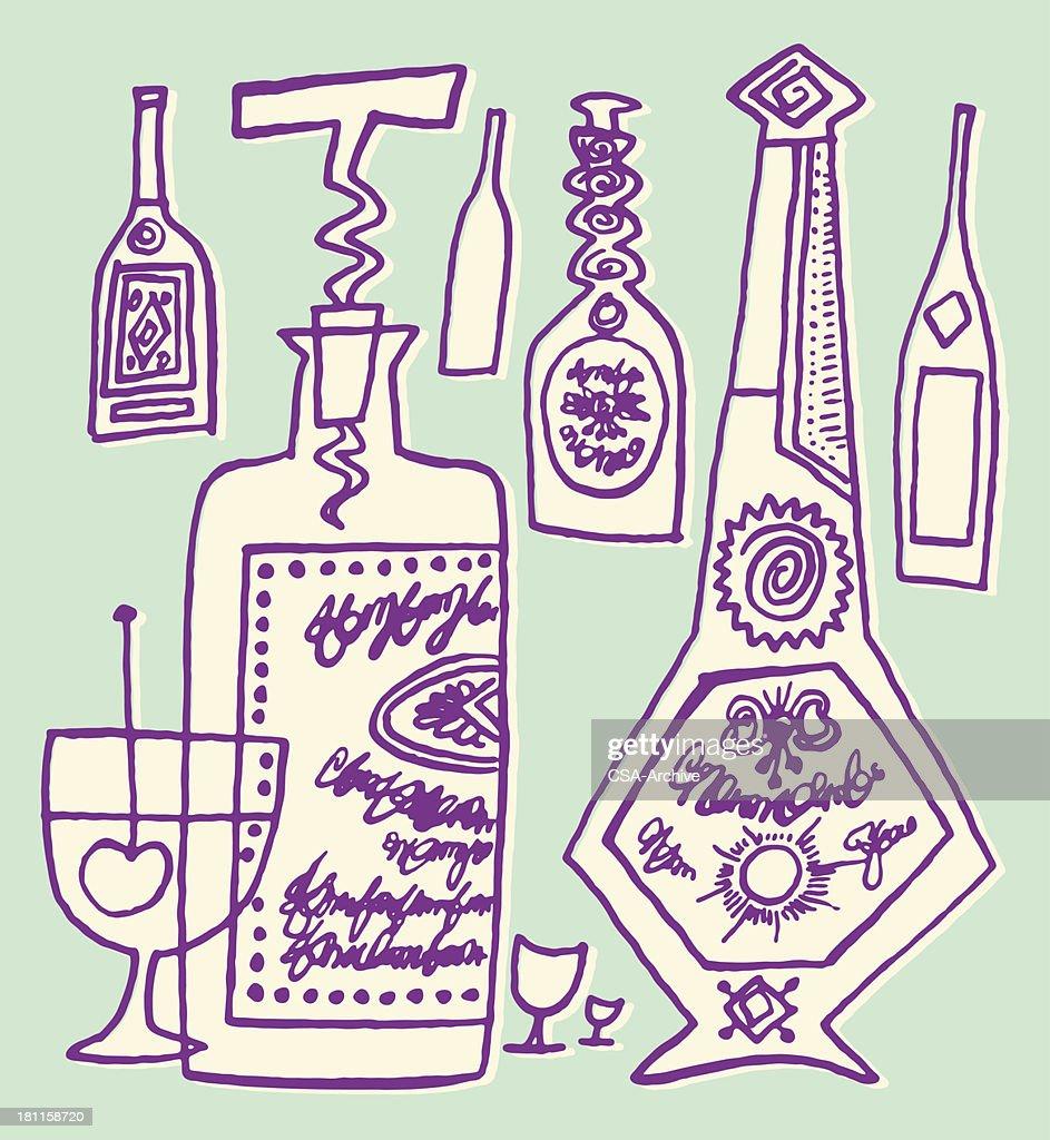 Liquor Bottles and Glass : Vector Art