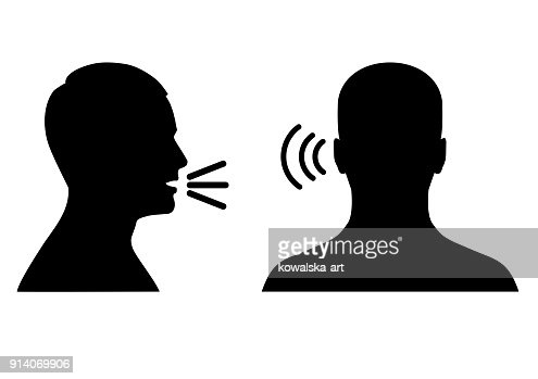 listen and speak icon, voice or sound symbol : stock vector
