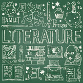 Literature hand drawn vector illustration with doodle icons, images and objects, isolated on blackboard.