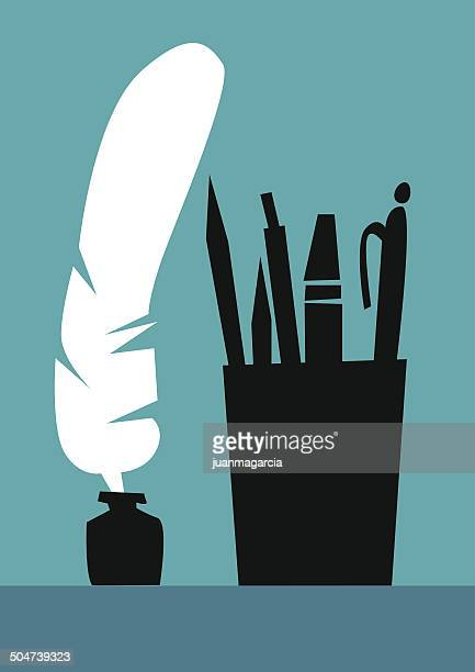 Literature, silhouette pen, pencil, pen and marker.