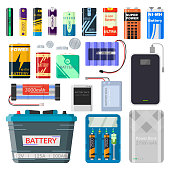Lithium batteries set. Different types of batteries, rechargeable, source to power consumer goods, mobile phones, toys, cars. Vector flat style cartoon illustration isolated on white background