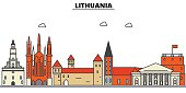 Lithuania, . City skyline: architecture, buildings, streets, silhouette, landscape, panorama, landmarks. Editable strokes. Flat design line vector illustration concept. Isolated icons