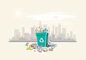 Vector illustration of littering waste that have been disposed improperly around the dust bin on street exterior with city skyscrapers skyline in the background. Garbage can full of overflowing trash.