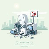 Vector illustration of e-waste garbage pile on the street exterior with city skyscrapers skyline in the background. Electrical and electronic appliance, computer and other obsolete electronic equipmen