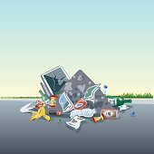 Vector illustration of littering waste pile that have been disposed improperly, without consent, at an inappropriate location around on the street exterior. Trash is fallen on the ground and creates a