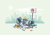 Vector illustration of littering waste pile that have been disposed improperly, without consent, at an inappropriate location around on the street exterior with city skyscrapers skyline in the backgro