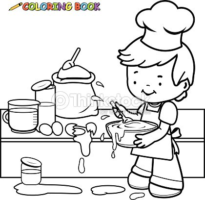 little boy cooking and making a mess coloring book page vector art