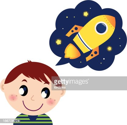 Little boy dreaming about rocket toy : Vector Art