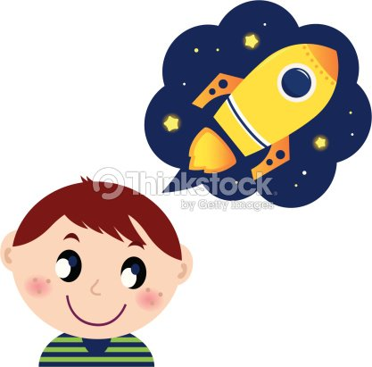 Little Boy Dreaming About Rocket Toy Vector Art