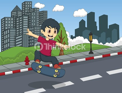 Little boy playing skateboard in the street cartoon