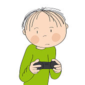 Little boy playing video games on game console, holding joystick, being very concentrated. Original hand drawn cartoon illustration.