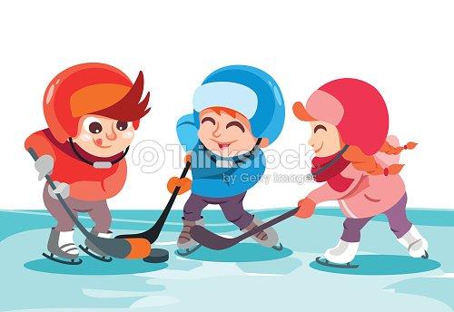 Jeunes gar ons et filles jouant au hockey sur sur la patinoire clipart vectoriel thinkstock - Dessin patinoire ...