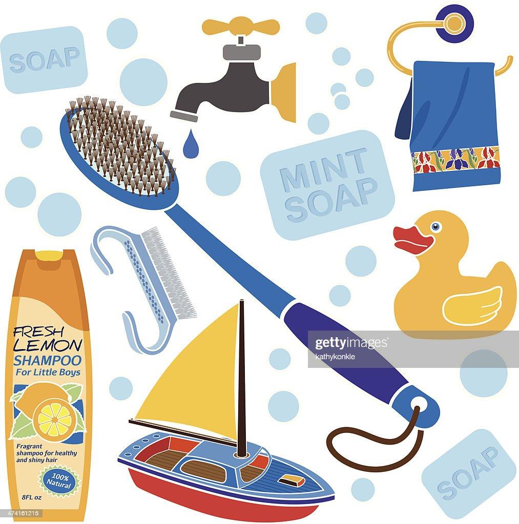 Little Boys Bath Accessories Vector Art Getty Images