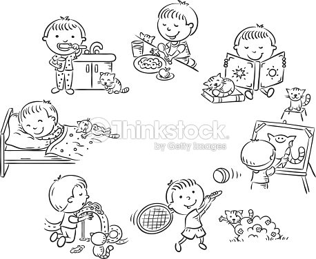 Little Boys Daily Activities Black And White Outline stock