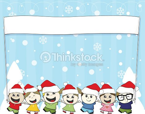 c663d2f1d4b Little Children With Santa Hat And Blank Banner Vector Art