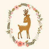 Little deer in a floral wreath. Fawn cartoon vector illustration. Elegant card template
