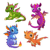 Little dragons set. Funny fantasy characters, isolated on white background. Vector cartoon colorful icons.