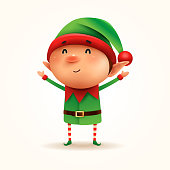 Vector illustration of elf on white background.