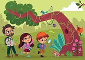 Little explorers in the nature. (Vector illustration)