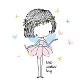 Little forest fairy. Nursery vector  illustration. Can be used for kid's clothing. Use for print design, surface design, fashion kids wear