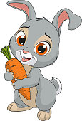 Vector illustration, Little funny bunny holds a carrot, smiles, on a white background
