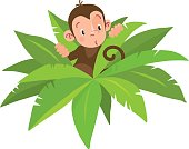 Little funny monkey among large leaves. Children illustration. Vector cartoon character