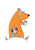 Little girl and a bear reading books