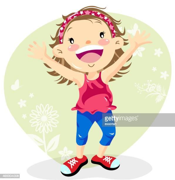 Petite fille applaudir jusqu'au printemps
