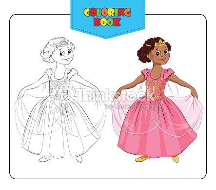 Coloriage Princesse Carnaval.Fillette En Costume De Carnaval De Princesse Livre De Coloriage