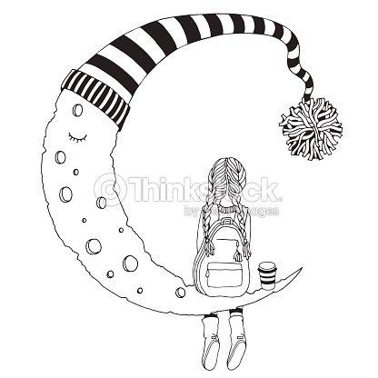 Niña Está Sentada En La Luna Blanco Y Negro Página De Libro Para ...
