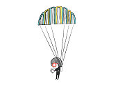 Little girl reading in a parachute made with books. Hand drawn vector illustration
