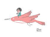 Little girl reading on a big bird, vector illustration