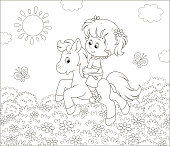 Cute smiling child on a small horse among flowers and butterflies, black and white vector illustration in a cartoon style for a coloring book
