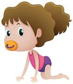 Little girl sucking on pacifier illustration