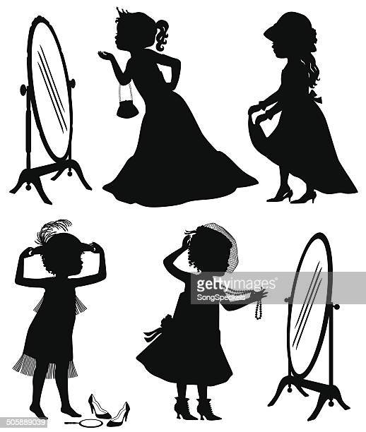 Little Girl Playing Dress Up Silhouette Stock ...