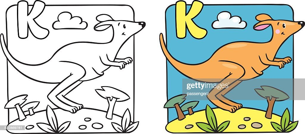 Little Kangaroo Coloring Book Alphabet K Vector Art