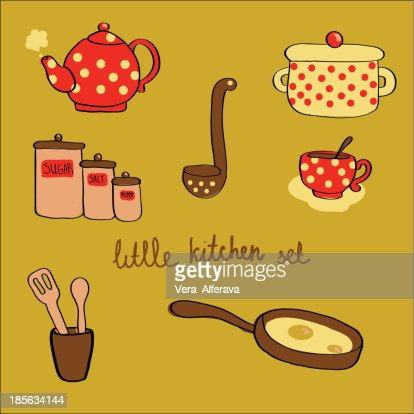 Little Kitchen Set In Cartoon Style Vector Art Thinkstock