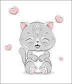 """lovely cute gray cat kitten, on a white and heart background""""n""""n"""