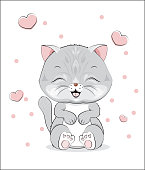 """lovely cute gray cat kitten, on a white and heart background""""r""""n"""