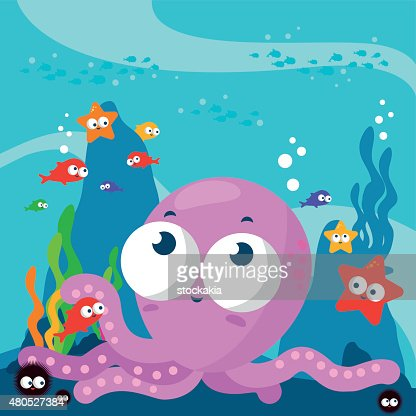 Little octopus underwater : Vector Art