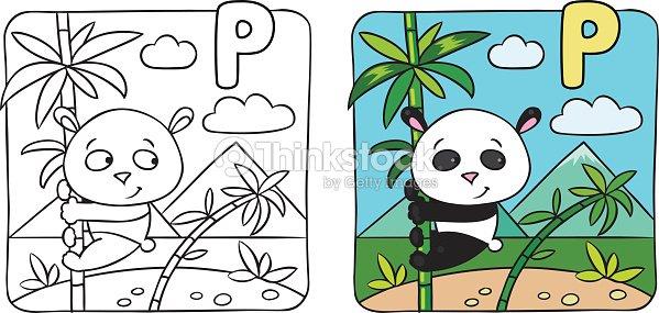 Little Panda Libro Para Colorear Alfabeto P Arte vectorial | Thinkstock
